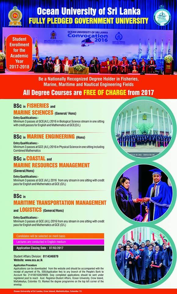 Degree and Diploma courses at Ocean University Sri Lanka
