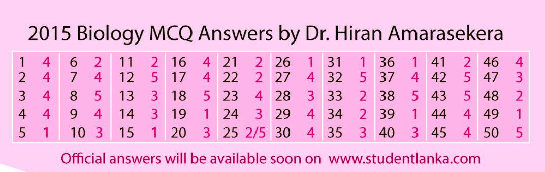 2015 Biology MCQ Dr Hiran Amarasekera