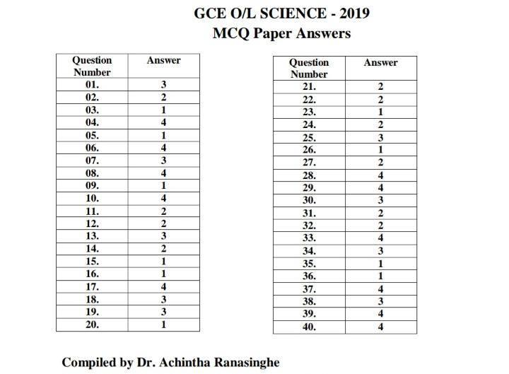 OL 2019 Science MCQ answers