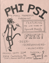 Phi Psi Party Poster, 1980
