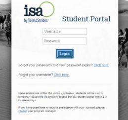 ISA Study abroad Student Portal Login Page