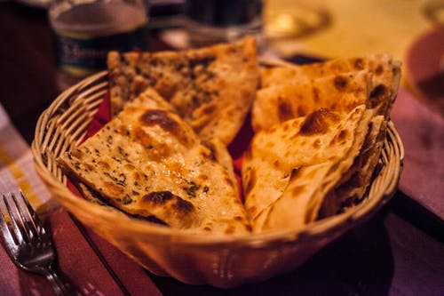 Basket of Cooked Flatbreads