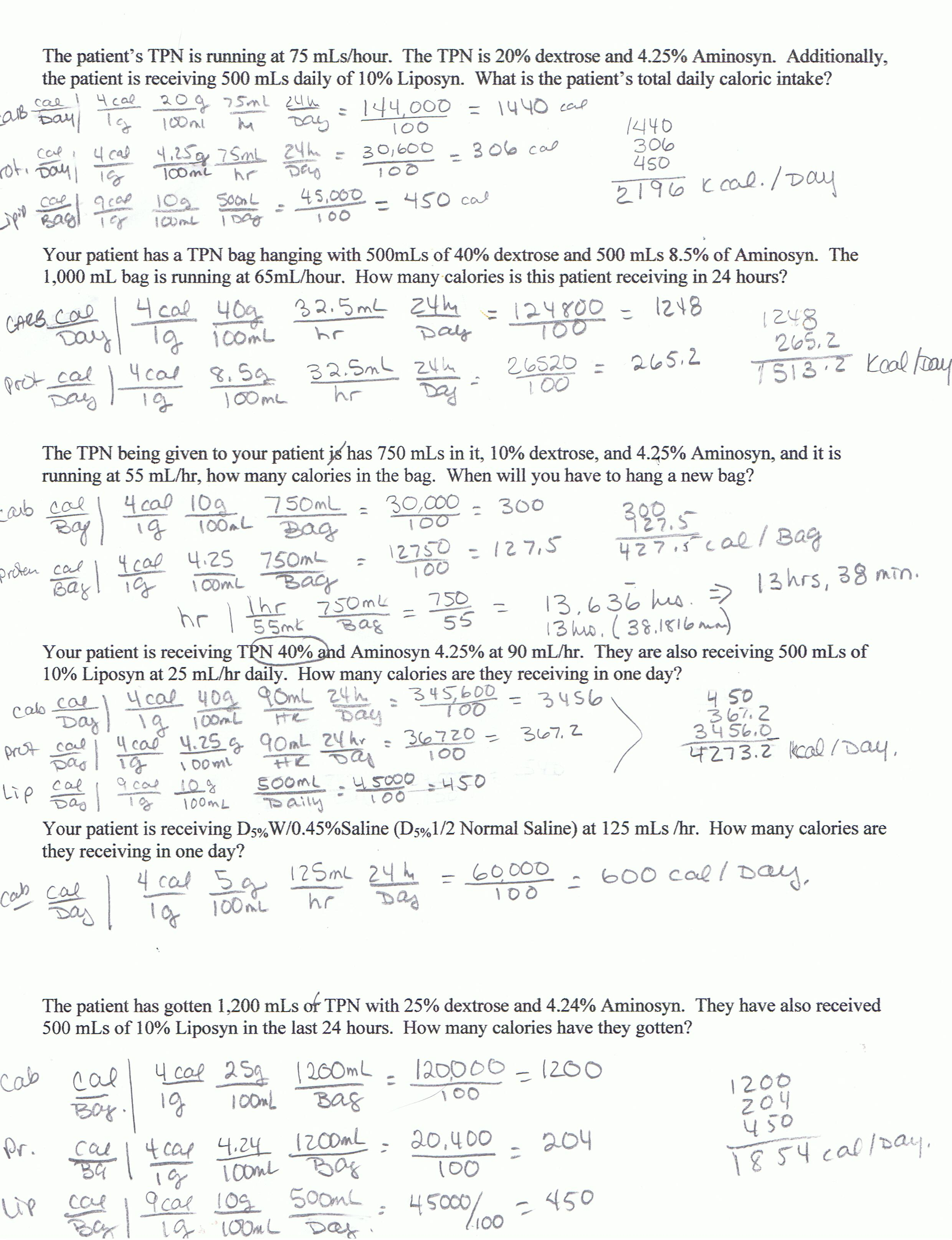 Nursing Math Worksheets With Answers