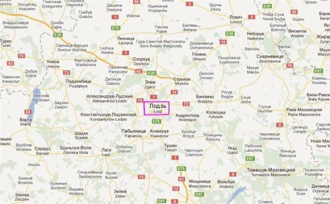 Карта Лодзинского воеводства