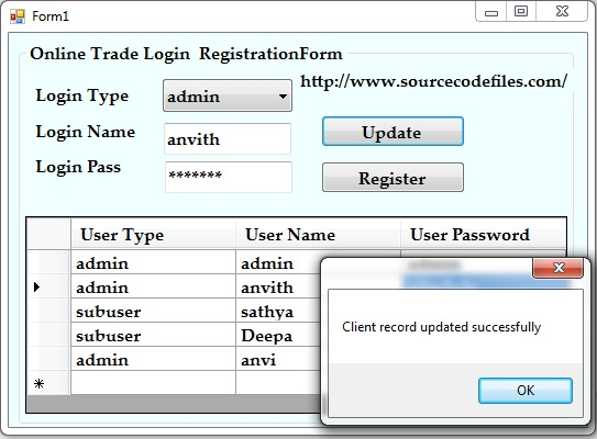 online trade login registration form