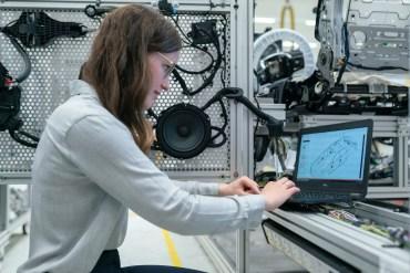 female engineer working in workshop