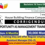 HBFC Management Trainee Officer Program 2019 – 30,000/- Stipend