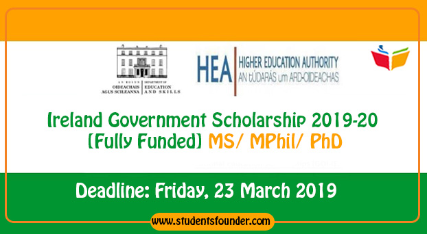 Ireland Government Scholarship 2019-20 [Fully Funded] MS/ MPhil/ PhD