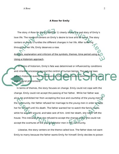 A Rose For Emily by William Faulkener Essay Example | Topics and Well Written Essays - 2750 words