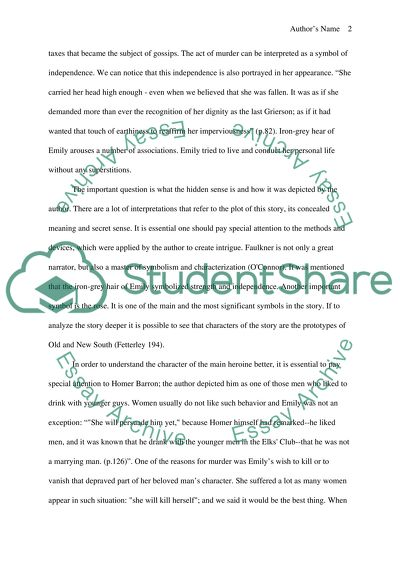 A Rose for Emily Research Paper Example | Topics and Well Written Essays - 1500 words