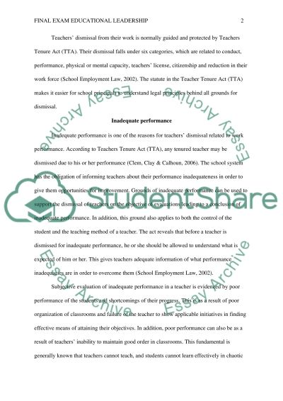 Final Exam Educational Leadership Research Paper