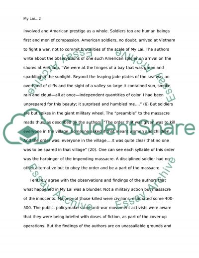 My Lai Massacre Essay Example Topics And Well Written Essays