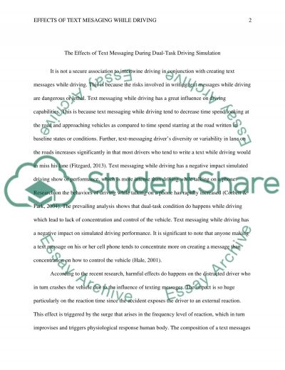The Effect Of Texting While Driving Research Paper 1