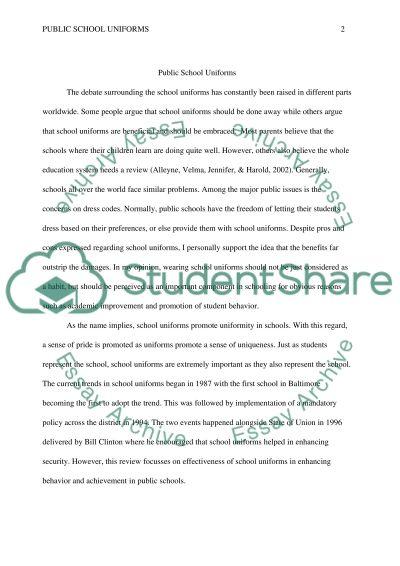Public School Uniforms Rough Draft Research Paper
