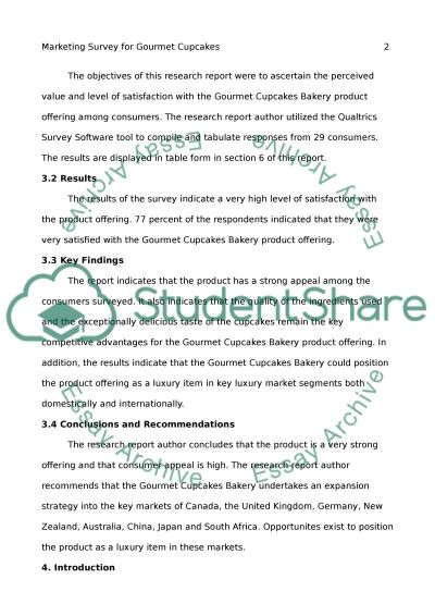 Marketing Survey For Gourmet Cupcakes Research Paper
