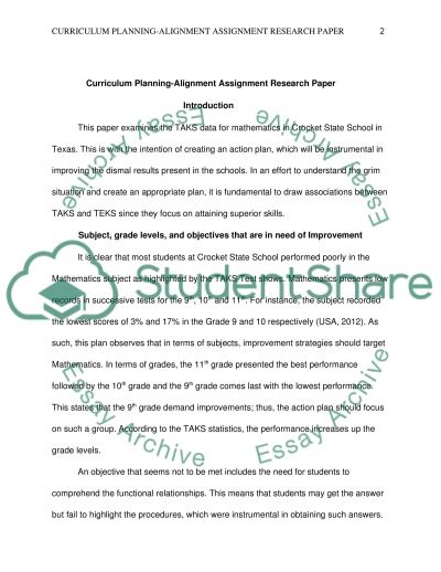 Curriculum Planning Alignment Assignment Research Paper