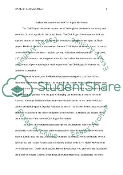 Essay About Civil Rights Harlem Renaissance And The Civil Rights