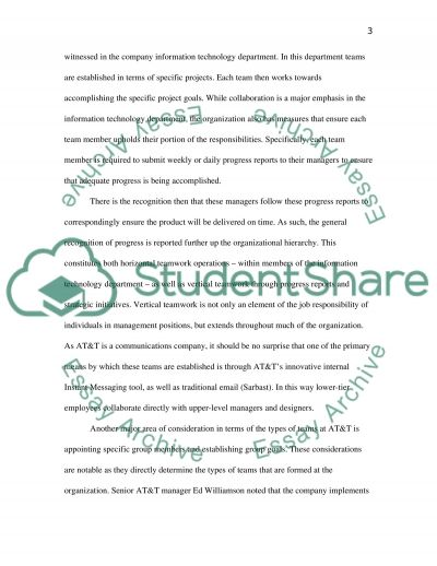 AT&T Teamwork Research Paper Example Topics And Well Written