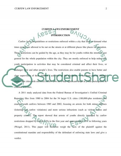 Essay On Curfew Curfew Law Enforcement Case Study Example Topics And