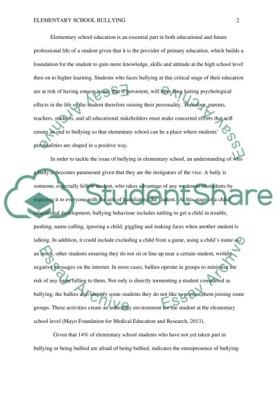 Elementary School Bullying Research Paper Example Topics And Well