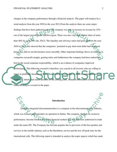 Financial Statement Analysis Research Paper Example