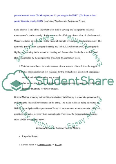 Financial Ratio Analysis Report Essay Example   Topics and Well Written Essays - 1500 words