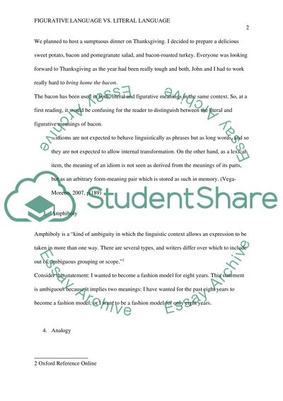 Figurative Language Essay Figurative Language Essay