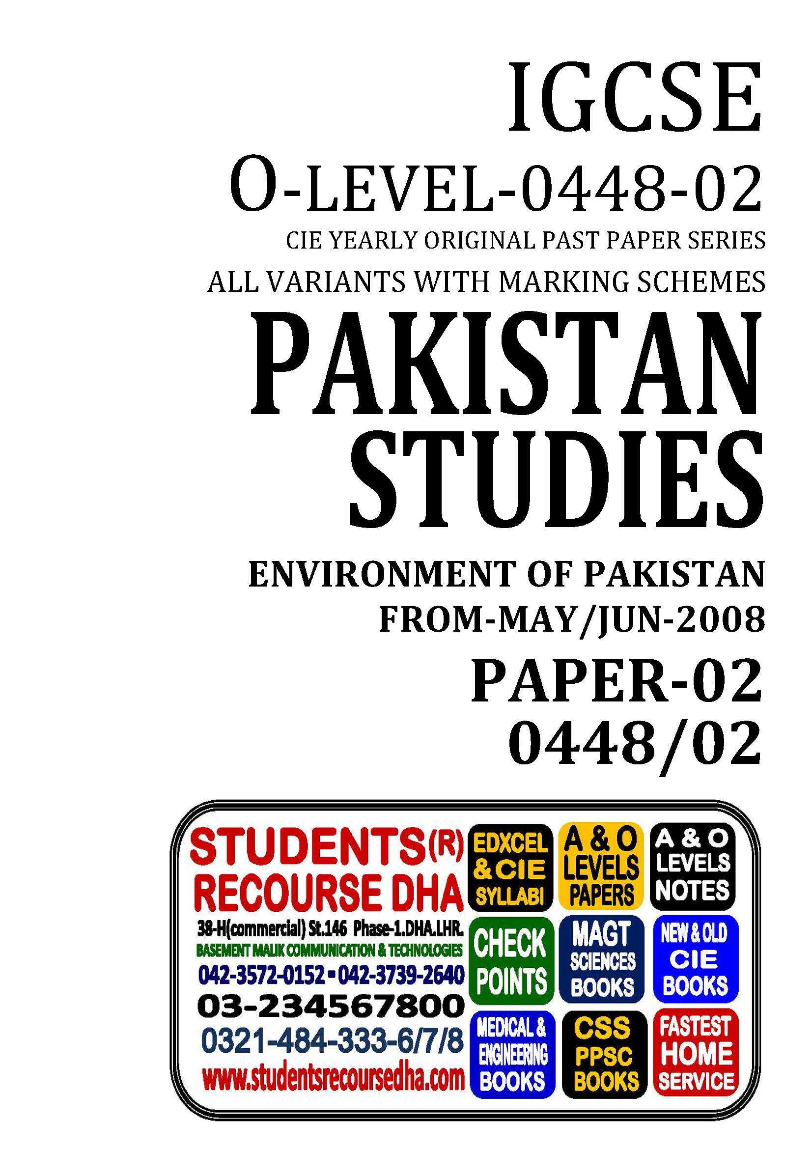 UNSOLVED YEARLY WITH MARKING SCHEME IGCSE PAKISTAN STUDIES-P2-0448-02