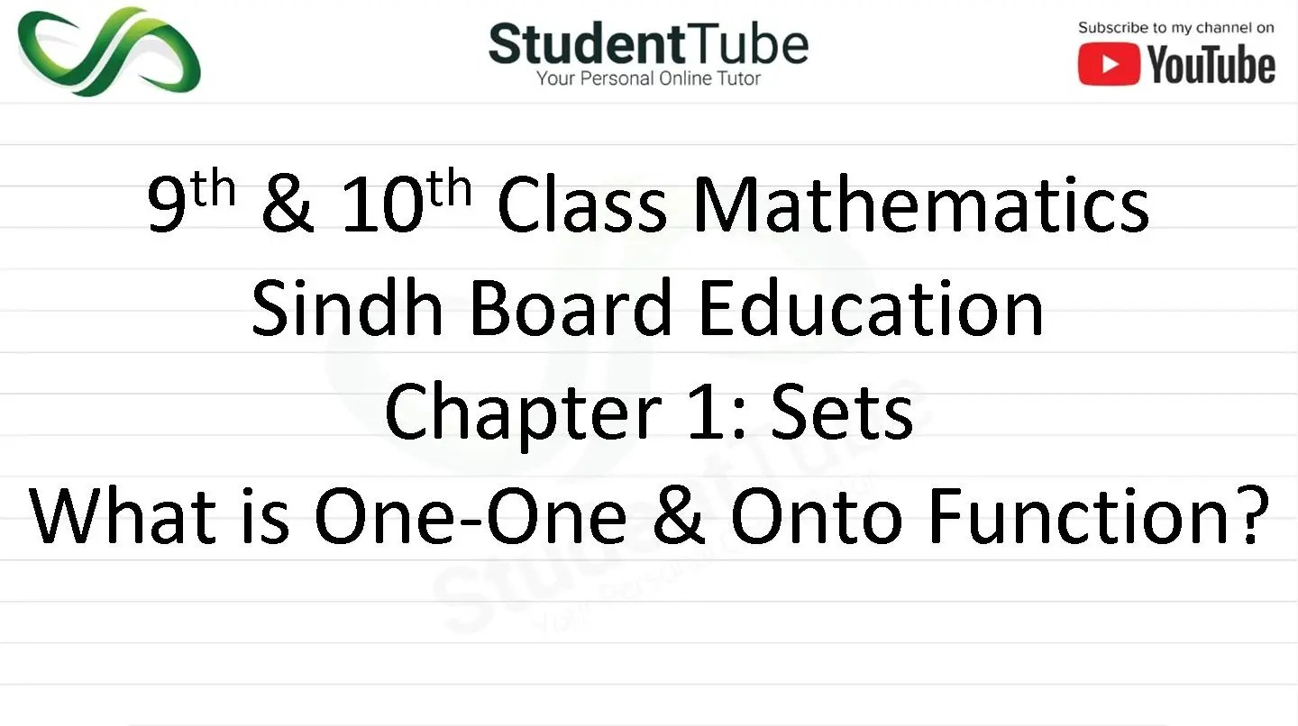 What is One One & Onto Function? Chapter 1