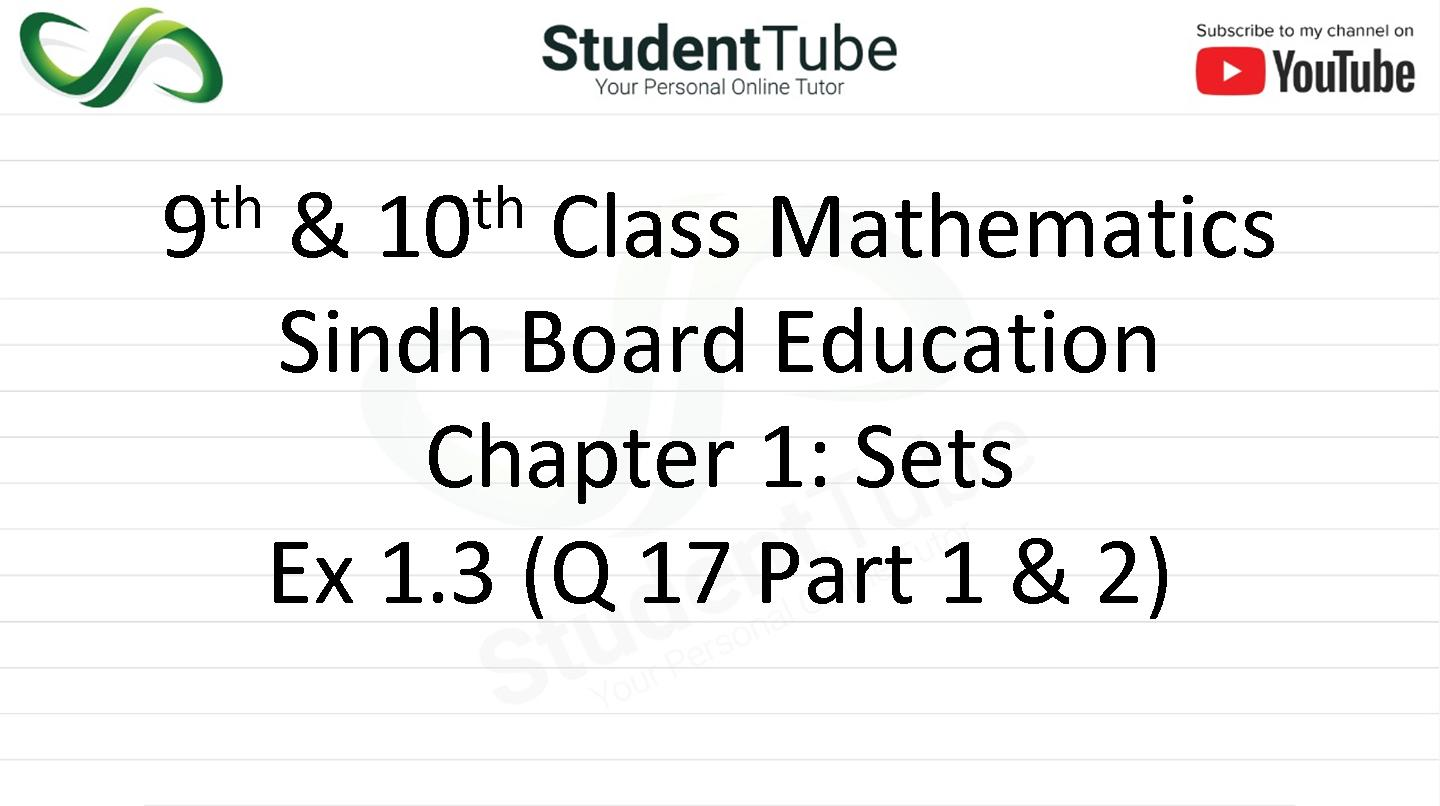 Chapter 1 - Exercise 1.3 Q 17 Part 1 & 2