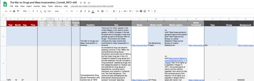 Figure 2. Screenshot from building dataset within the Google Sheets template.