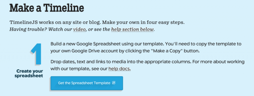 Screengrab of instructions from Timeline JS website.