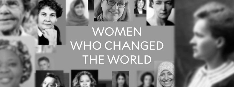 "collage image of women who have won the nobel peace prize with superimposed words stating ""women who changed the world"". in black and white."