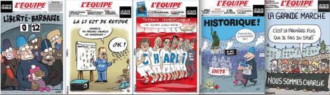 """Les """"Une"""" du journal l'Équipe."""