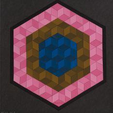 Victor Vasarely, Hexa VI, Estampe originale, 36x34 cm