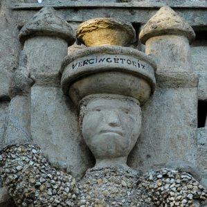 Palais idéal du Facteur Cheval, Hauterives, Drôme, France. Les trois géants. Vercingétorix, détails.