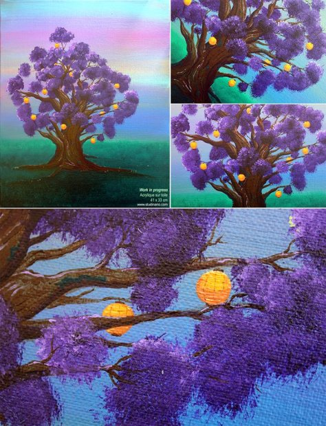 L'échappée Peinture acrylique sur toile 41 x 33 cm