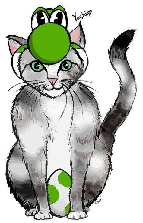 Yoshi is Yoshi (fanart basé sur le personnage de jeu vidéo Nintendo, Yoshi, qui est aussi le nom de mon chat) Aquarelle et encre sur papier Canson, modifié par ordinateur, 2013