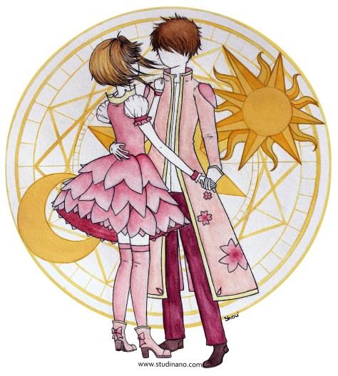 Sakura et Syaoran (Fanart de Card Captor Sakura), Aquarelle et encre sur papier Canson, 2018