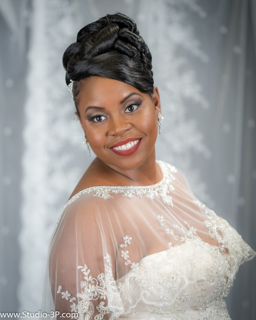 Woman posing in her wedding dress