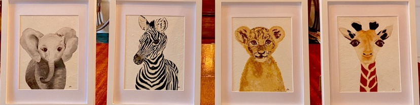 abstract painting of baby animals