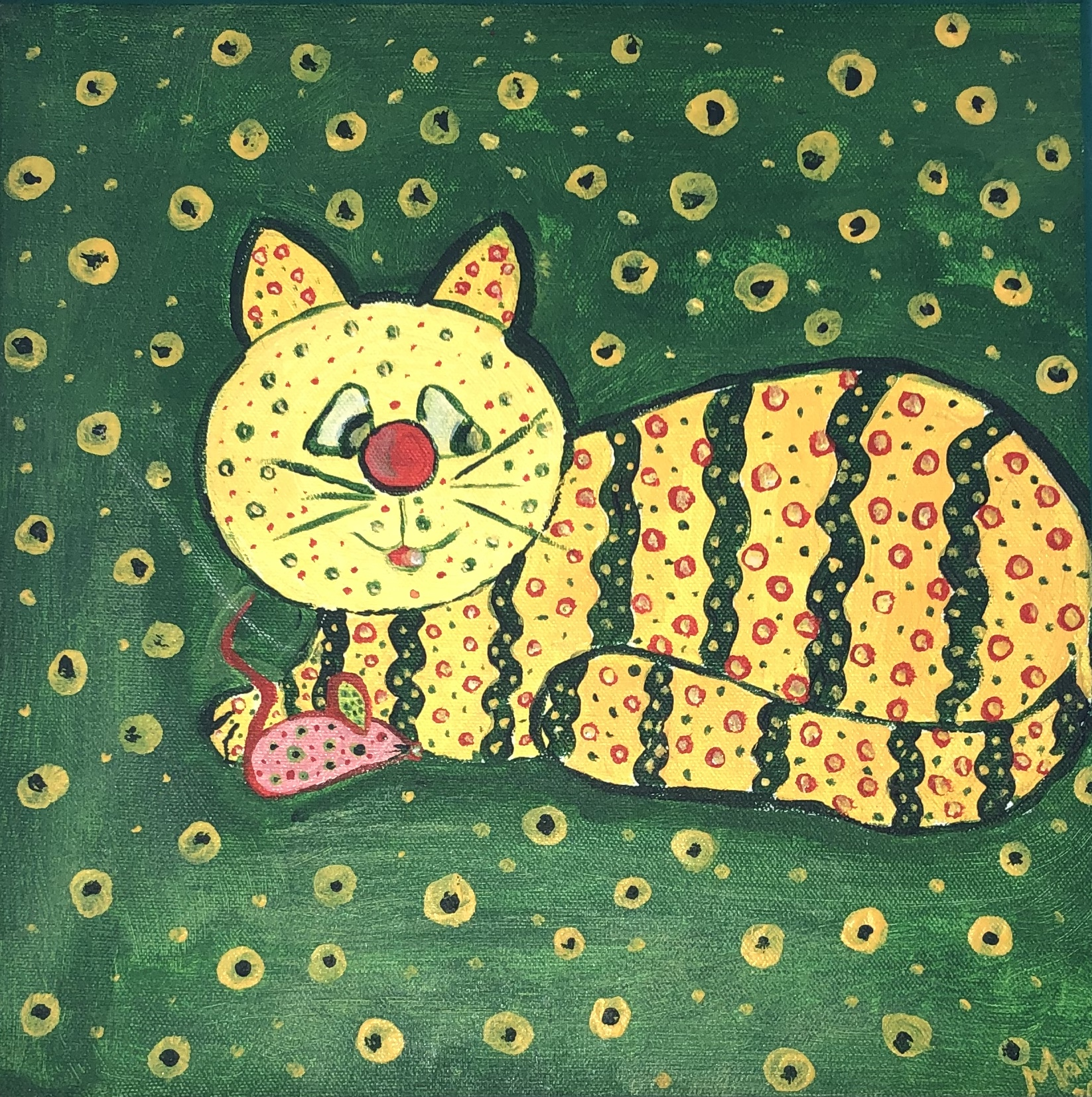 Abstract painting of the cheshire cat