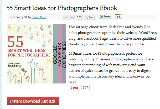 55 Smart Web Ideas for Photographers E-Book by Wendy Roe and Zach Prez