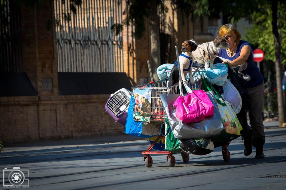 Vrouw zonder vaste woon en verblijfplaats loopt met alles wat ze heeft in een winkelkarretje over straat