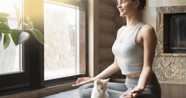 yoga girl with cat