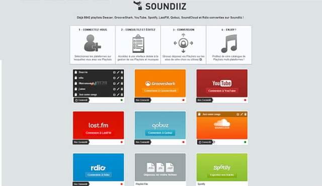 Soundiz, convertisseur de playlist (spotify, deezer, grooveshark ..)