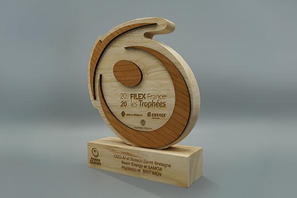 trophée sur socle avec logo entreprise, Trophée logo unique, création d'un trophée en bois sur socle personnalisé