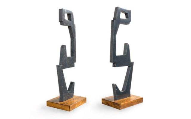 Création d'une sculpture graphique en béton, conception fait main, sculpture grisé et formes contemporaines, pièce en béton sur socle bois décoratif, Studio L'ingrédient