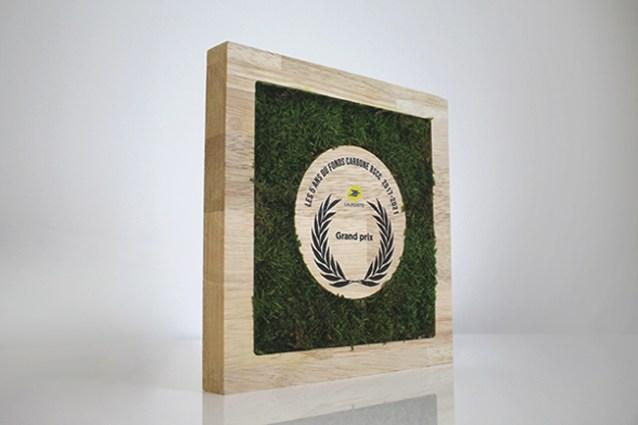 trophée carré en bois et mousse naturelle verte de trois quart, Grand prix personnalisé par impression couleur au centre du trophée sur bois, création trophées Poste sur mesure, Design by Studio L'ingrédient