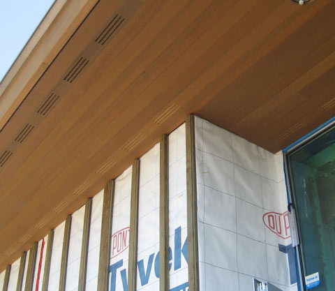 Detail  Cypress cedar soffit  siding  home building in